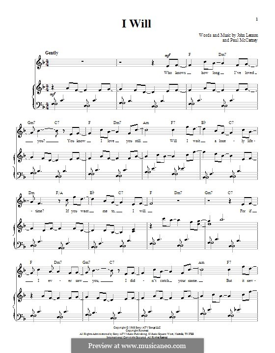 I Will (The Beatles): For voice and piano (or guitar) by John Lennon, Paul McCartney