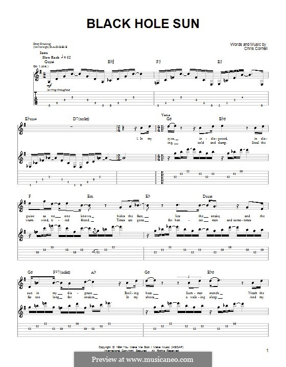 Black Hole Sun (Soundgarden): For guitar (very easy version) by Chris Cornell