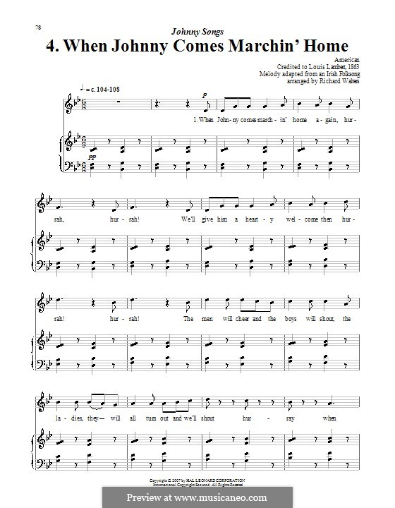 When Johnny Comes Marching Home: For voice and piano (or guitar) by Patrick Sarsfield Gilmore