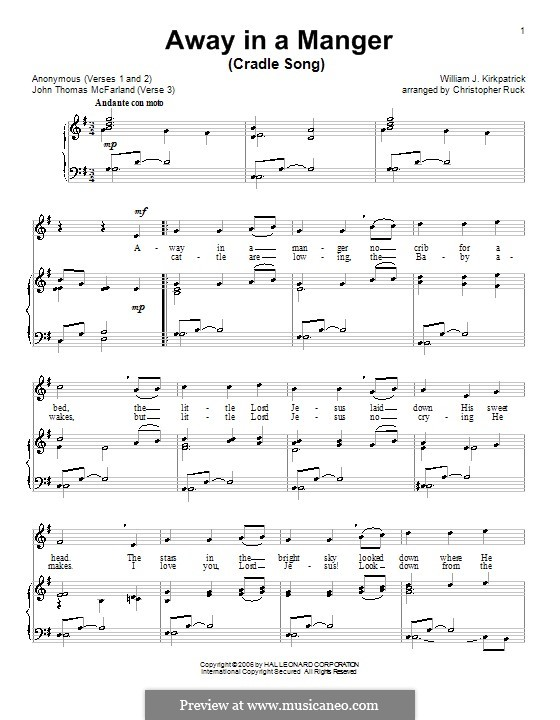 Away In A Manger By W Kirkpatrick Sheet Music On Musicaneo