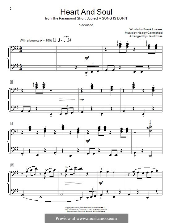 Heart and Soul: For piano four hands by Hoagy Carmichael
