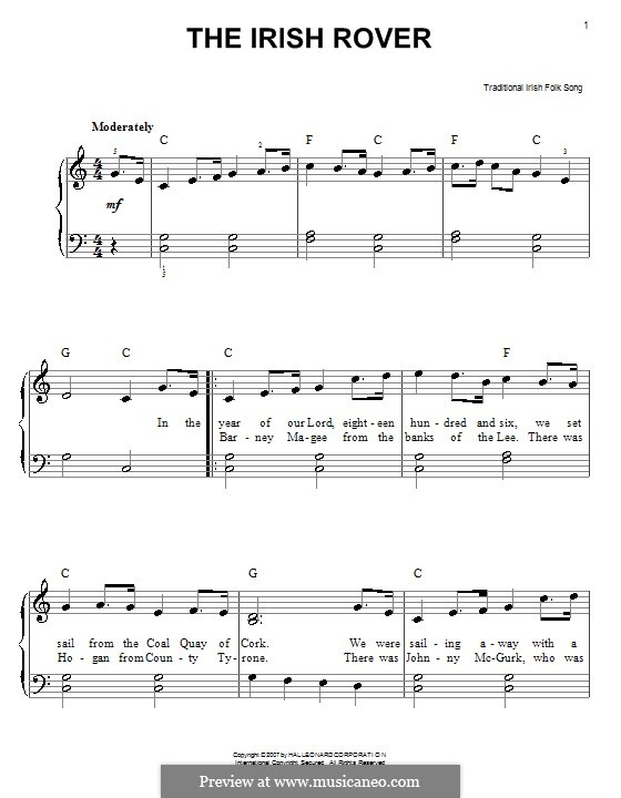 The Irish Rover: For easy piano by folklore