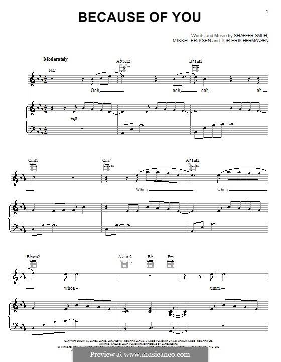 Because of You (Ne-Yo): For voice and piano (or guitar) by Mikkel Storleer Eriksen, Ne-Yo, Tor Erik Hermansen