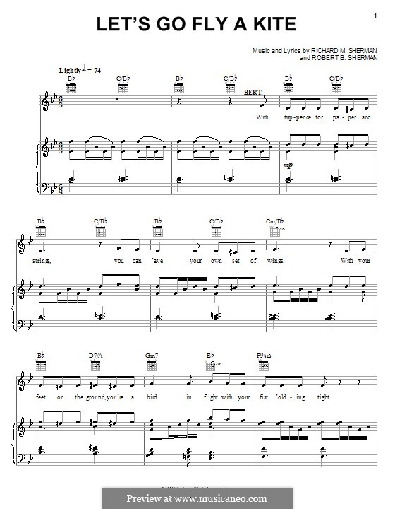 Let's Go Fly a Kite: For voice and piano (or guitar) by Richard M. Sherman, Robert B. Sherman