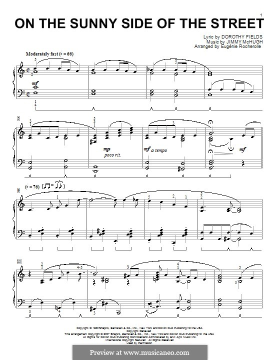 On the Sunny Side of the Street: For piano by Jimmy McHugh