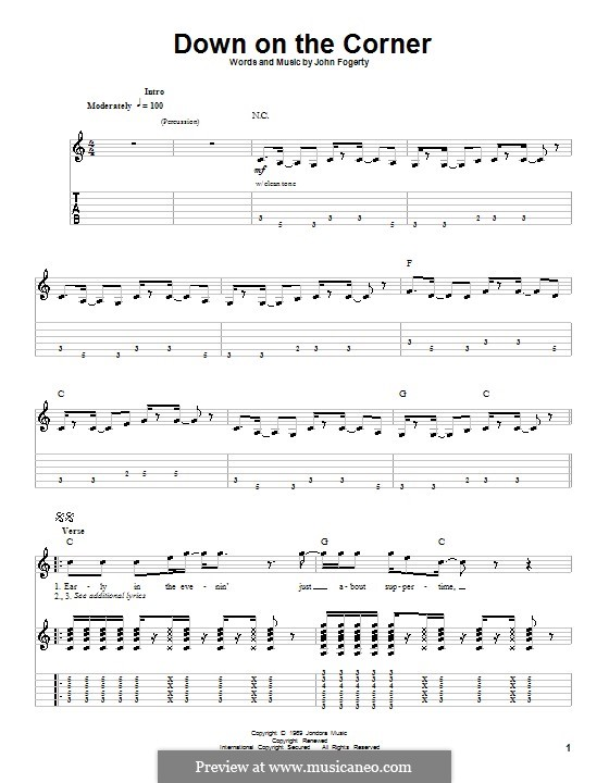 Down on the Corner (Creedence Clearwater Revival): For guitar with tab by John C. Fogerty