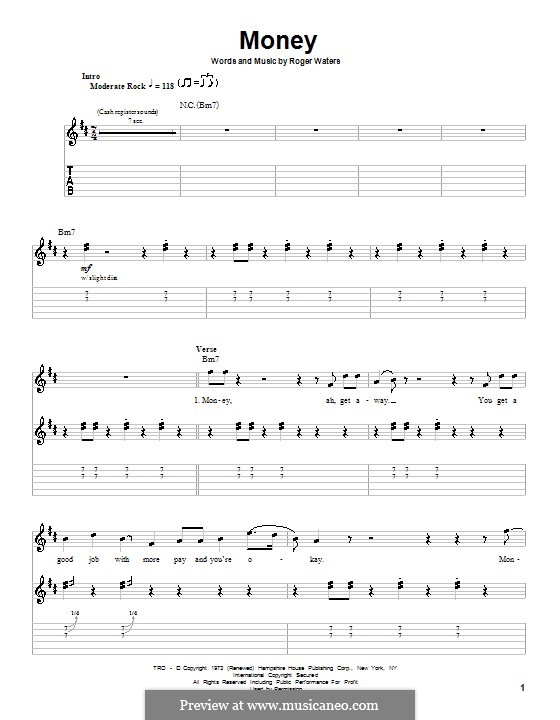 Money (Pink Floyd): For guitar with tab by Roger Waters