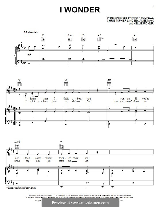 I Wonder (Kellie Pickler): For voice and piano (or guitar) by Aimee Mayo, Christopher Lindsey, Karyn Rochelle