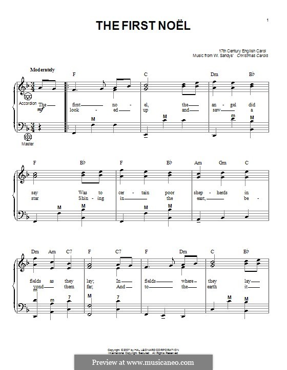 The First Nowell (The First Noël), Printable scores: For accordion by folklore