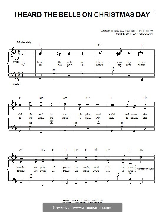 I Heard the Bells on Christmas Day: For accordion by John Baptiste Calkin