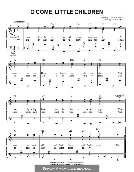 O Come, Little Children: For accordion by Johann Abraham Schulz