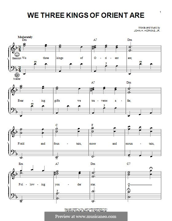 We Three Kings of Orient are (Printable Scores): For accordion by John H. Hopkins Jr.
