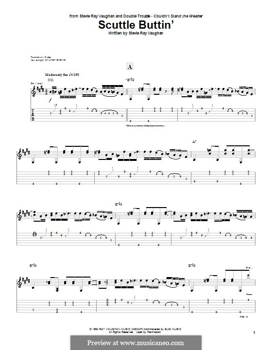 Scuttle Buttin': For guitar by Stevie Ray Vaughan