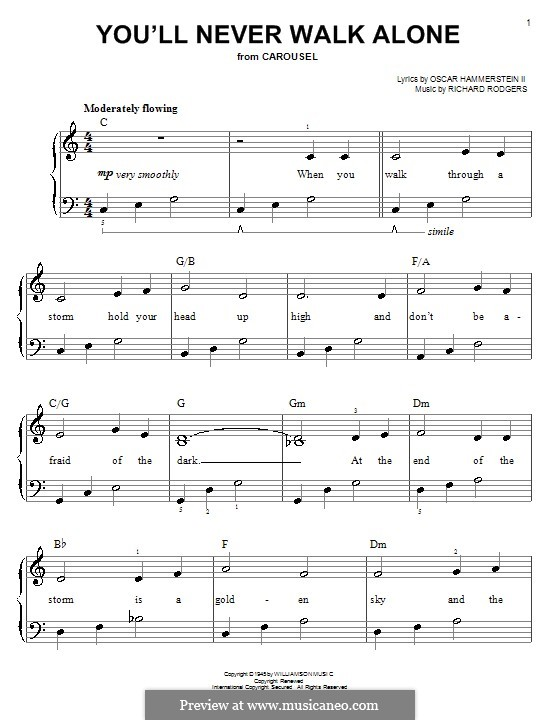 You'll Never Walk Alone (from Carousel): For easy piano by Richard Rodgers