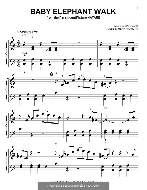 Baby Elephant Walk: For piano (very easy version) by Henry Mancini