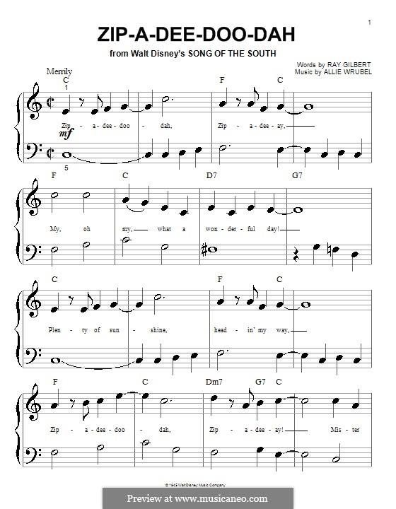 Zip-A-Dee-Doo-Dah: For piano (very easy version) by Allie Wrubel