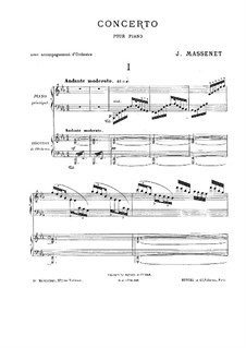 Piano Concerto in E Flat Major: Version for two pianos four hands by Jules Massenet