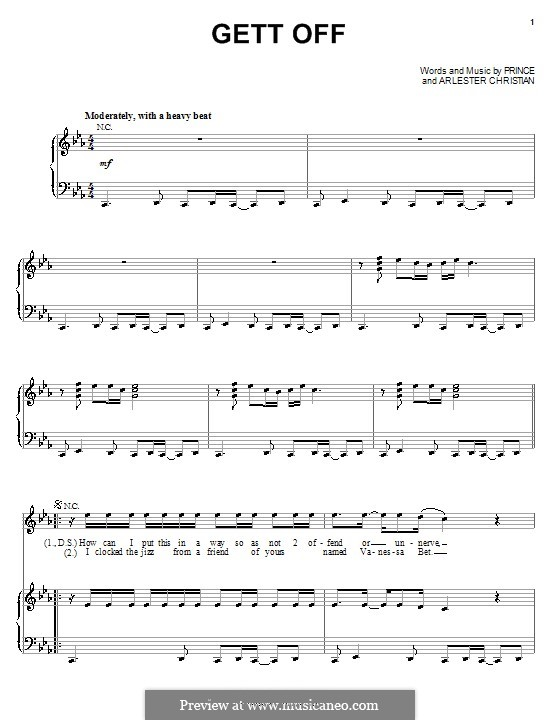 Gett Off (Prince): For voice and piano (or guitar) by Arlester Christian