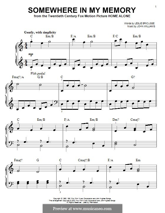 Somewhere in My Memory: For easy piano by John Williams
