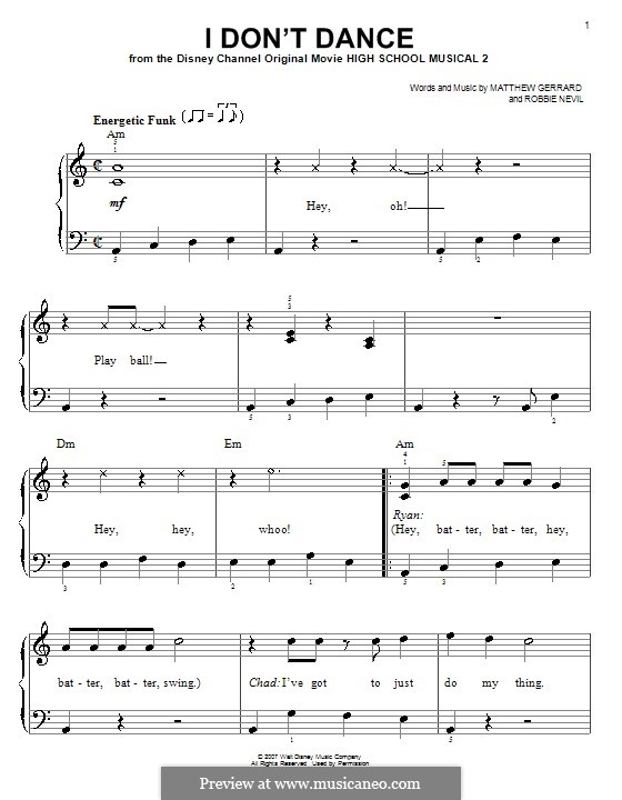 I Don't Dance (from High School Musical 2): For easy piano by Matthew Gerrard, Robbie Nevil