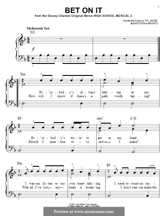 Bet on It (High School Musical 2): For easy piano by Antonina Armato, Timothy James