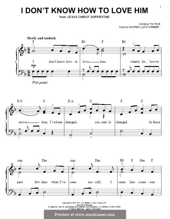 I Don't Know How to Love Him: For easy piano by Andrew Lloyd Webber