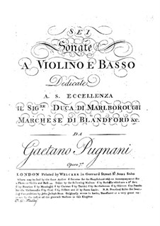 Sonatas for Violin and Basso Continuo, Op.7a: Sonatas for Violin and Basso Continuo by Gaetano Pugnani