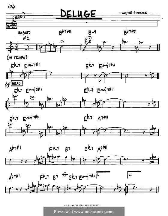 Deluge: Melody and chords - C instruments by Wayne Shorter