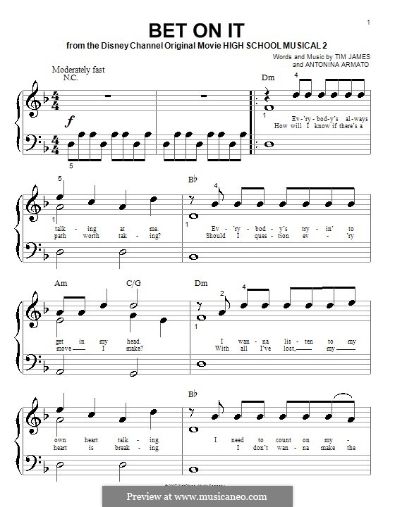 Bet on It (High School Musical 2): For piano (very easy version) by Antonina Armato, Timothy James