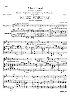Abschied (Farewel), D.475: For voice and piano by Franz Schubert