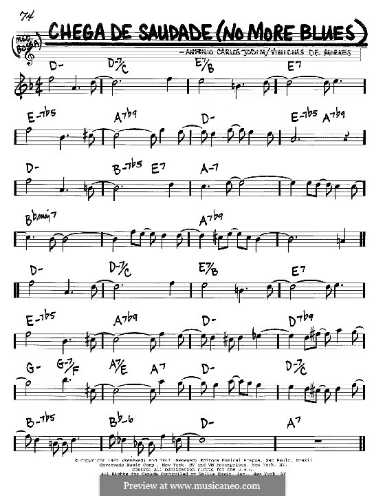 Chega de Saudade (No More Blues): Melody and chords - C instruments by Antonio Carlos Jobim