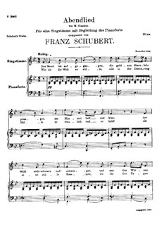 Abendlied (Evening Song), D.499: B flat Major by Franz Schubert