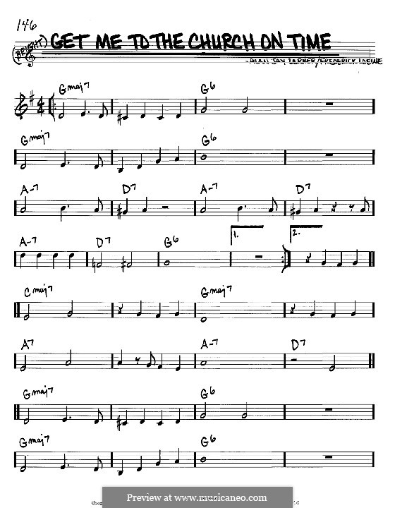Get Me to the Church on Time by F. Loewe - sheet music on MusicaNeo