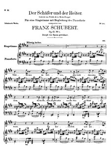 Der Schäfer und der Reiter (The Shepherd and the Horseman), D.517 Op.13 No.1: For voice and piano by Franz Schubert