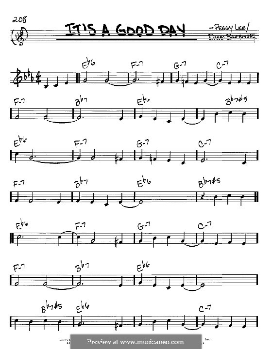 It's a Good Day: Melody and chords - C instruments by Dave Barbour