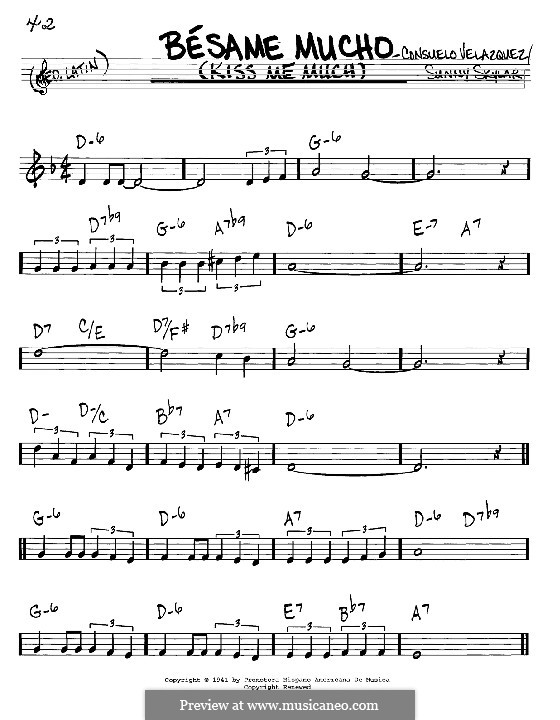 Besame Mucho (Kiss Me Much): Melody and chords - C instruments by Consuelo Velazquez