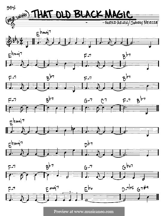 That Old Black Magic (from Star Spangled Rhythm): Melody and chords - C instruments by Harold Arlen