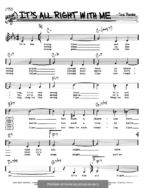 It's All Right with Me: Melody, lyrics and chords - C instruments by Cole Porter
