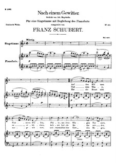 Nach einem Gewitter (After a Thunderstorm), D.561: F Major by Franz Schubert