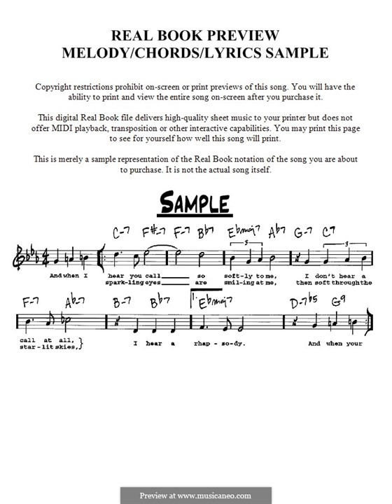 My Favorite Things (from The Sound of Music): Melody, lyrics and chords - C instruments by Richard Rodgers