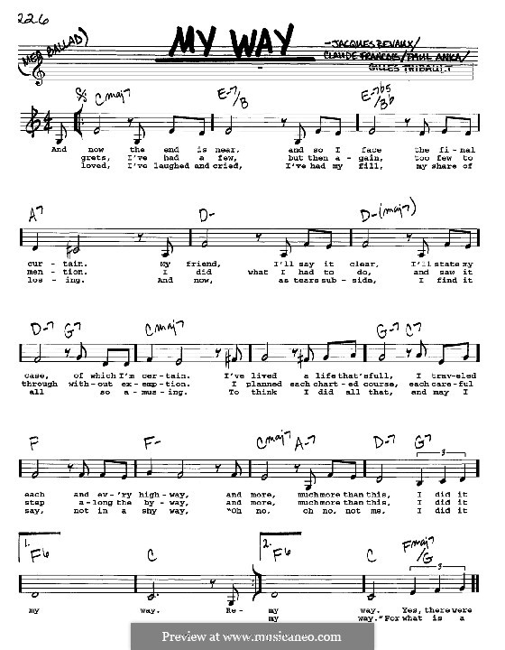 My Way by C. Francois, J. Revaux - sheet music on MusicaNeo