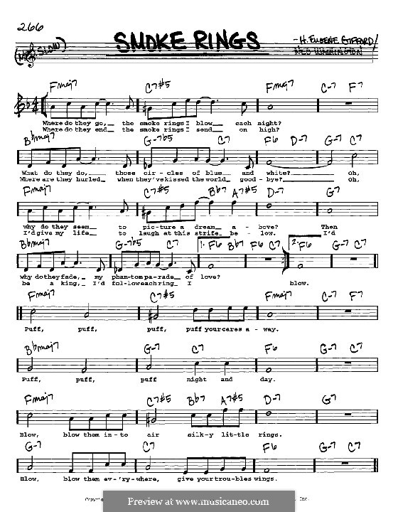 Smoke Rings: Melody, lyrics and chords - C instruments by H. Eugene Gifford