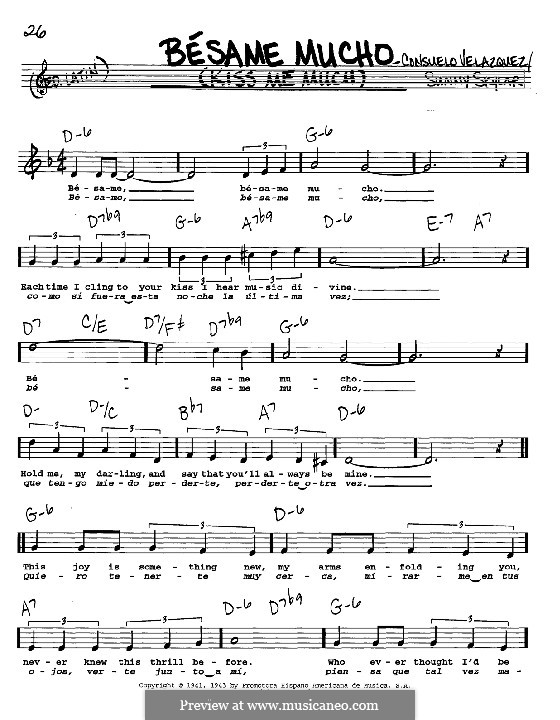 Besame Mucho (Kiss Me Much): Melody, lyrics and chords - C instruments by Consuelo Velazquez
