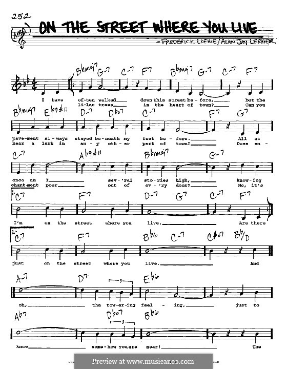 On the Street Where You Live (from My Fair Lady): Melody, lyrics and chords - C instruments by Frederick Loewe