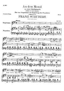 An den Mond in einer Herbstnacht (To the Moon on an Autumn Night), D.614: A Major by Franz Schubert