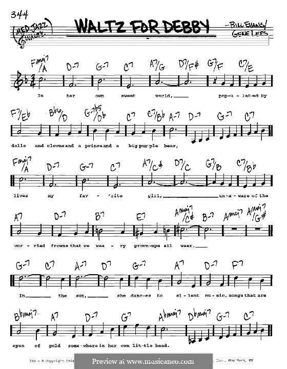Waltz for Debby: Melody, lyrics and chords – C instruments by Bill Evans