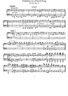 Eight Variations on a French Song, D.624: For piano four hands by Franz Schubert