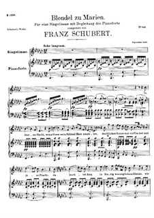 Blondel zu Marien (Blondel to Mary), D.626: For voice and piano by Franz Schubert