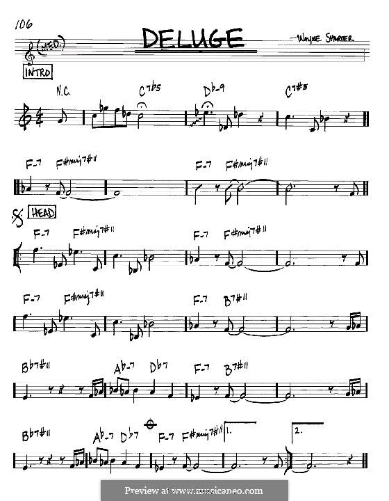 Deluge: Melody and chords - Bb instruments by Wayne Shorter