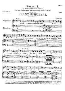 Sonnet No.1 in B Flat Major, D.628: For voice and piano by Franz Schubert